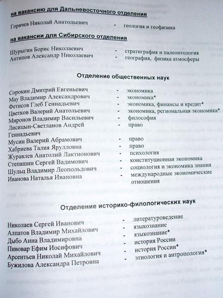 Списки отобранных отделениями РАН. Фотографии Наталии Дёминой