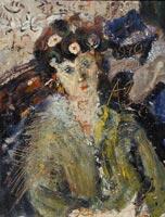 Анатолий Зверев. Портрет женщины сцветами вволосах. 1970