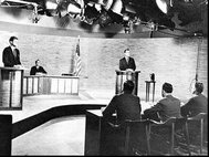 John F. Kennedy and Richard Nixon participate in a 1960 presidential debate