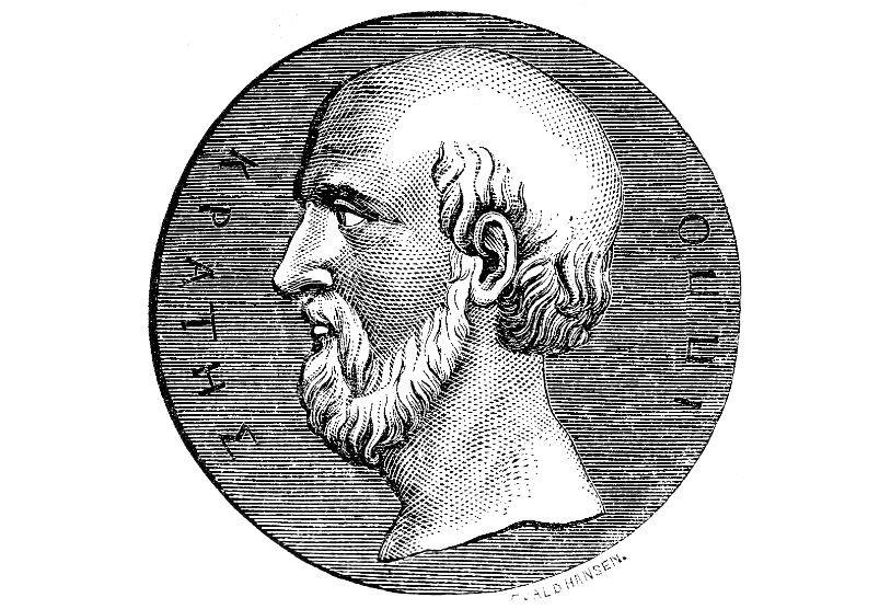 Монета с изображением Гиппократа. Иллюстрация из Illustrerad verldshistoria utgifven av E. Wallis