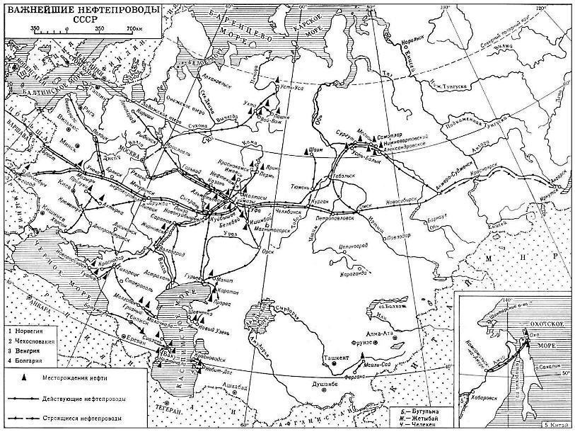 Карта нефтепроводов СССР