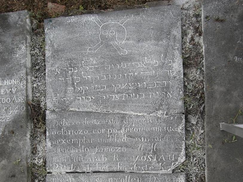 Захоронение первого раввина Порт-Рояля Йосиау (Josiau) бен Давида Пардо (ум.1684 г.), бывшего также первым раввином в Америке (за исключением Ресифии)