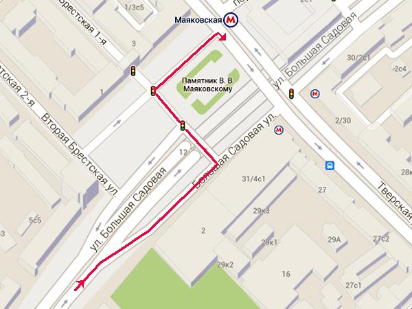 """С 11 июля изменена схема движения автотранспорта на Триумфальной площади (ст. метро  """"Маяковcкая """") - отныне запрещен..."""