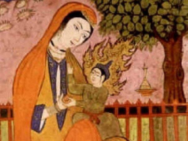 Мириам и Иса. Фрагмент персидской миниатюры