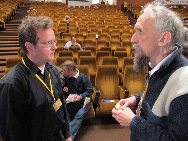 Математики Александр Буфетов и Виктор Васильев на Конференции научных работников РАН, 30 августа 2013 г.