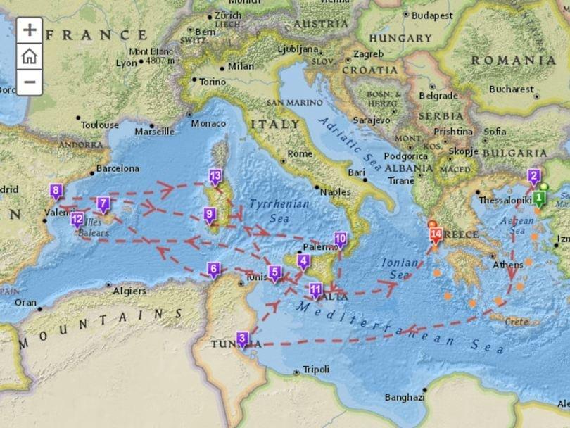 Карта странствий Одиссея