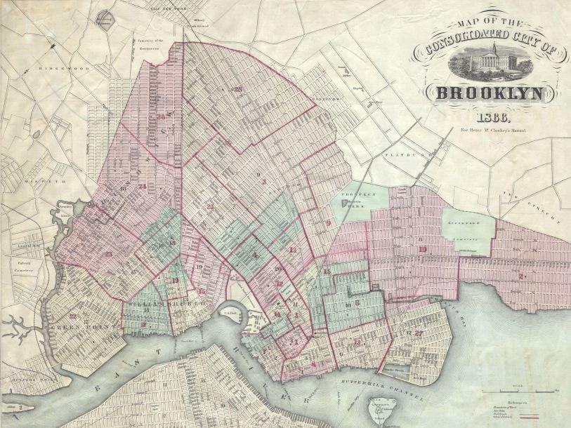 Карта Бруклина, 1866 г.