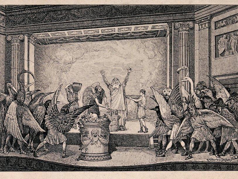 Комедия Аристофана «Птицы» на гравюре английского художника Генри Глиндони