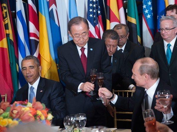Барак Обама, Пан Ги Мун и Владимир Путин за ланчем