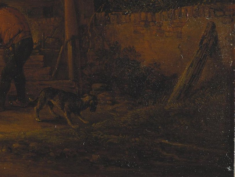 Фрагмент картины ван Остаде до реставрации