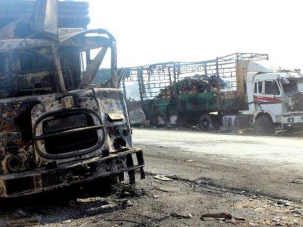 ООН: Гуманитарную колонну вАлеппо атаковали своздуха