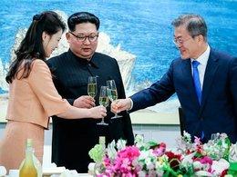 Ли Соль Чжу, руководитель Северной Кореи Ким Чен Ын и президент Республики Корея Мун Чжэ Ин