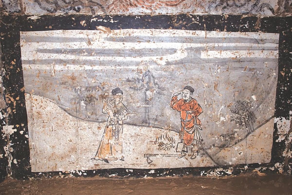 Фрески китайской гробницы иллюстрируют примеры сыновней почтительности