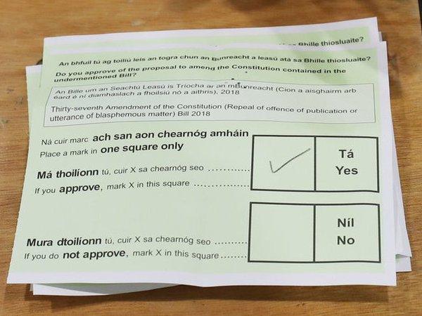 Бюллетень на референдуме в Ирландии