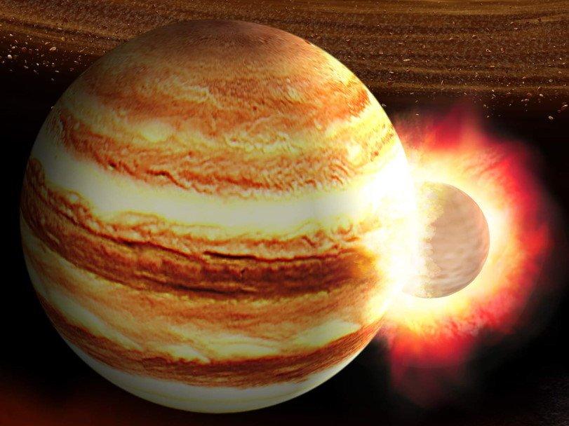 Более четырёх миллиардов лет назад в Юпитер врезалась массивная протопланета