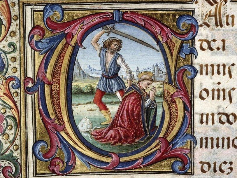 Убийство Томаса Бекета. Миниатюра из рукописи конца XVI в.