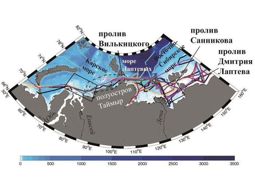 Карта района работ и маршруты экспедиций, данные которых использовались для исследования переноса пресной воды в Арктике